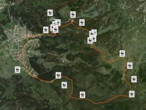 Карта на маршрута от Кладница